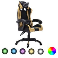 shumee igralni stol RGB LED zlato / črno imitacija usnja