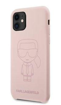 Karl Lagerfeld Iconic Outline Silikonový Kryt pro iPhone 11 Tone on Tone Pink KLHCN61SILTTPI