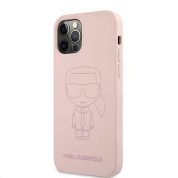 Karl Lagerfeld Iconic Outline silikonový kryt pro iPhone 12/12 Pro 6,1 KLHCP12MSILTTPI, růžová