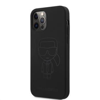 Karl Lagerfeld Iconic Outline silikonový kryt pro iPhone 12/12 Pro 6,1 KLHCP12MSILTTBK, černá