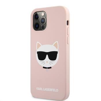 Karl Lagerfeld Choupette Head silikonový kryt pro iPhone 12 Pro Max 6,7 KLHCP12LSLCHLP, růžový