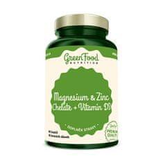 GreenFood Nutrition Hořčík a Zinek Cheláty + Vitamín D3 90 kapslí