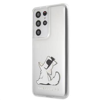 Karl Lagerfeld PC/TPU Choupette Eats kryt pro Samsung Galaxy S21 Ultra KLHCS21LCFNRC, transparentní