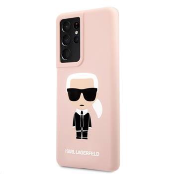 Karl Lagerfeld Iconic Full Body silikonový kryt pro Samsung Galaxy S21 Ultra KLHCS21LSLFKPI, růžový