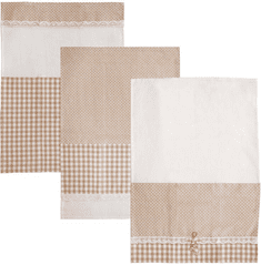 Orion Kuchyňská utěrka bavlna HEART GIFTY hnědá 3 ks B