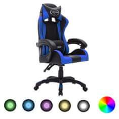shumee igralni stol RGB LED modro / črno imitacija usnja