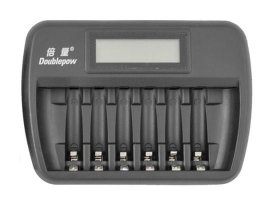 Oxe  AA akkumulátortöltő 6 db-hoz, kijelzővel és 8 db újratölthető akkumulátorral Varta 56706 R6 2100mAh NIMH basic