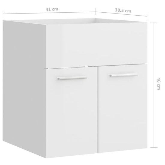 shumee Szafka pod umywalkę, biała, wysoki połysk, 41x38,5x46 cm, płyta
