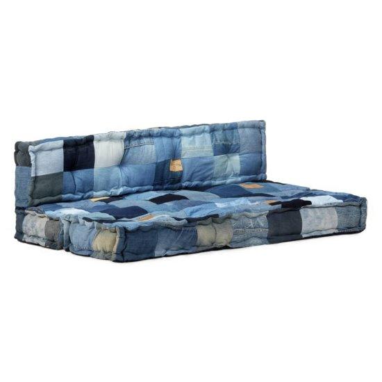 Greatstore 2-dielna sada podložiek na paletovú sedačku denim modrá patchwork
