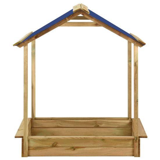 Greatstore Vonkajší domček s pieskoviskom 128x120x145 cm borovicové drevo