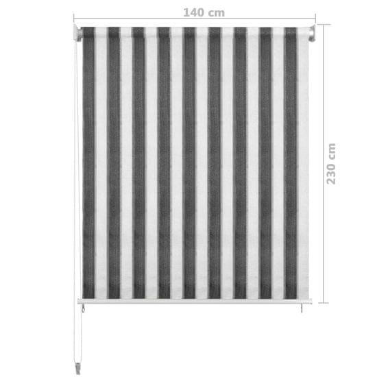 shumee antracitszürke-fehér csíkos kültéri sötétítő 140 x 230 cm