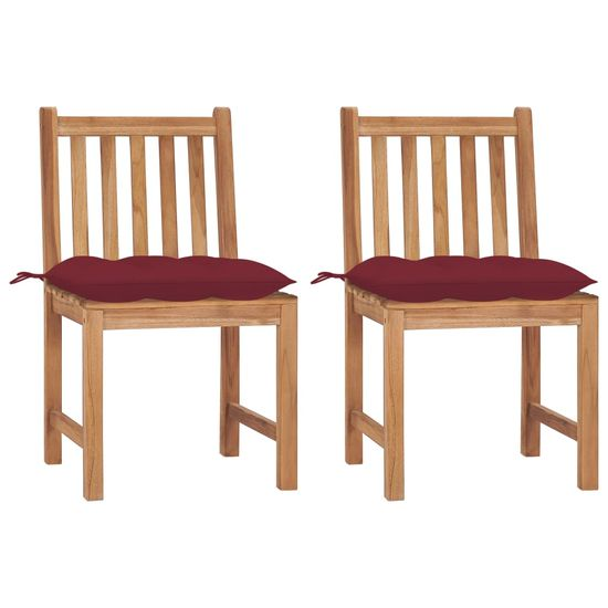 shumee Krzesła ogrodowe z poduszkami, 2 szt., lite drewno tekowe