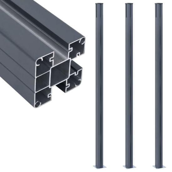 shumee ograde za ograjo 3 kos temno siva 185 cm aluminij