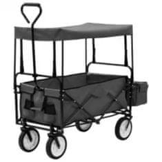 shumee Zložljiva voziček z baldahinom jekleno siva