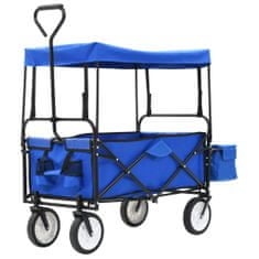 shumee Zložljiva voziček z baldahinom jekleno modra
