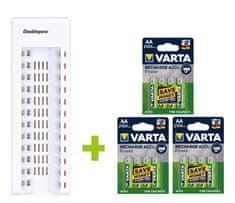 Oxe  AA akkumulátortöltő 12 db és 12 db újratölthető elemhez Varta 56706 R6 2100mAh NIMH basic