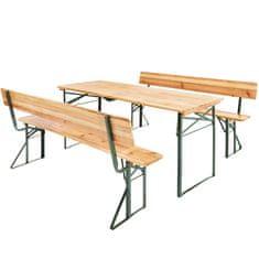 tectake Pivný set stola a lavice - hnědá