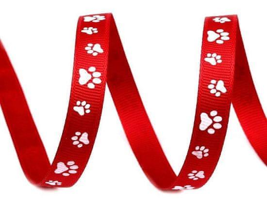 Kraftika 45m ribbon red rypsová stuha / popruh šíře 10mm potisk
