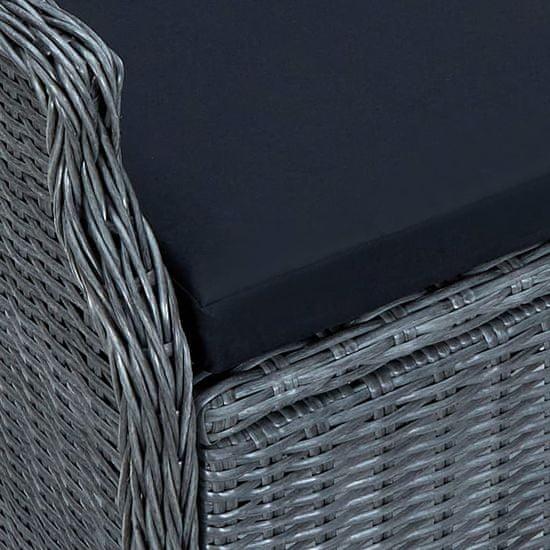Greatstore Vrtna jedilna garnitura z blazinami 9-delna PE ratan temno siva