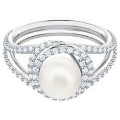 Swarovski Půvabný prsten s perlou a třpytivými krystaly Swarovski Originally 54827 (Obvod 52 mm)