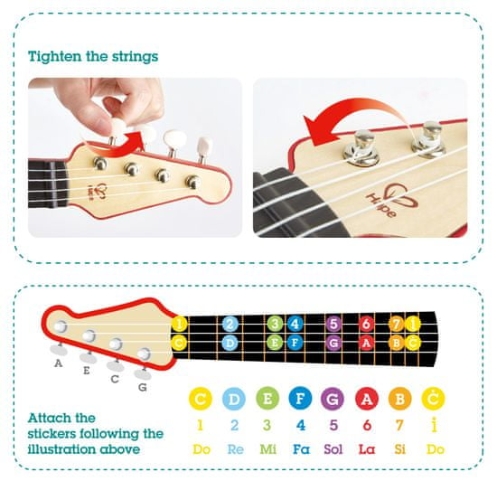 Hape Tanulj fények segítségével - piros ukulele
