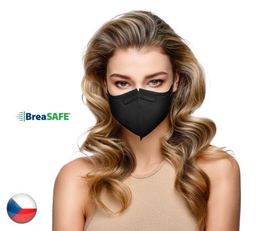 BreaSAFE® 5x Český NanoRespirátor BreaSAFE® FFP2 - Znovupoužitelný - černý L (od 39,90 Kč/kus)