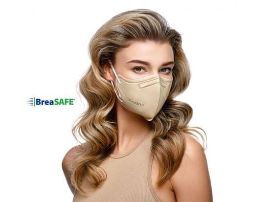 BreaSAFE® 5x Český NanoRespirátor BreaSAFE® FFP2 - Znovupoužitelný - béžový M (39,90 Kč/kus)