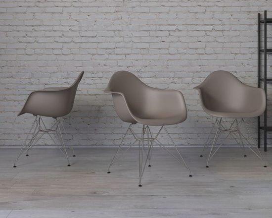 shumee Krzesło P018 PP milde grey, chrom nogi HF