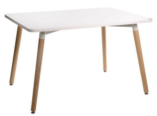 shumee Stół Copine prostokątny / biały / blat MDF / lakierowany / nóżki drewniane