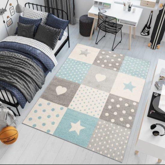 shumee Detský modrý koberec C573A BIELA / TURQUOIS LAZUR 1,60 * 2,20
