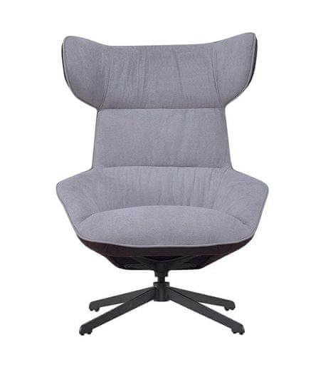 shumee VITA szürke fotel - barna - szövet, öko-bőr, fém