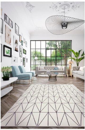 shumee Szőnyeg, lapos szövésű, hurkos FELICITY 160x230 fehér fekete geometria 20412-963