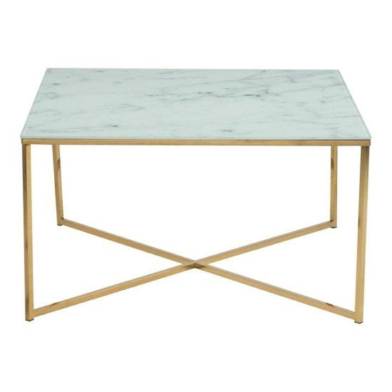 shumee Štvorcový konferenčný stolík z bieleho skla Alisma