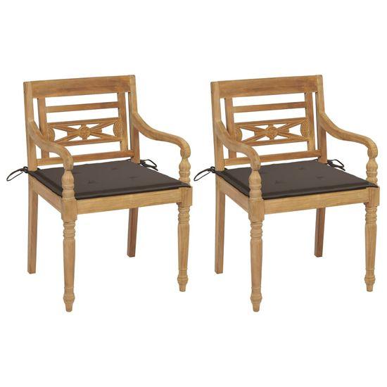 shumee Batavia stoličky 2 ks so sivohnedými vankúšmi tíkový masív