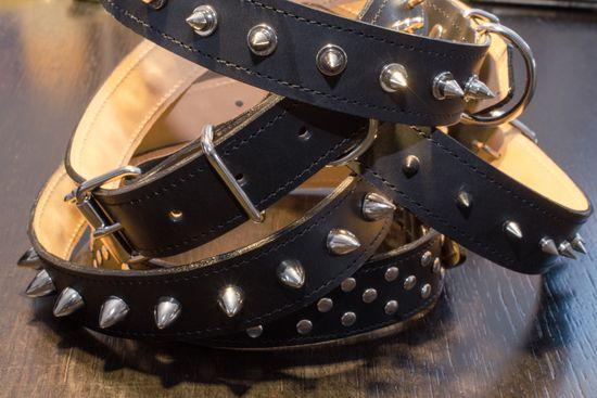Sedlář Tlustý Kožený obojek s hroty, 35mm šíře, 70-80cm