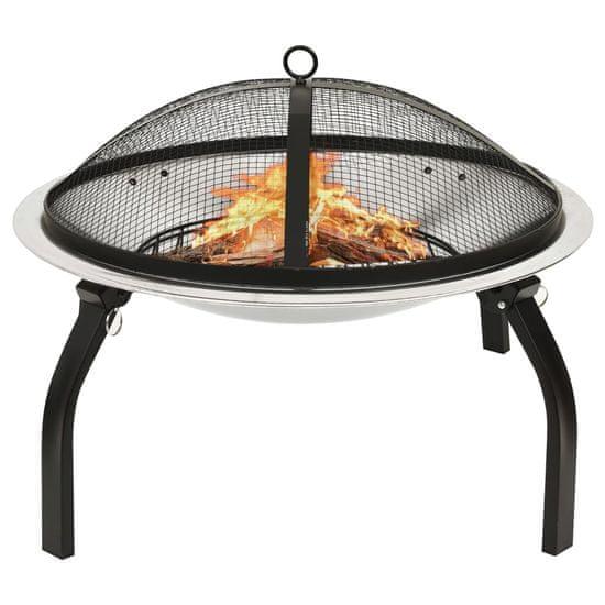 shumee rozsdamentes acél tűztál és grillező piszkavassal 56x56x49 cm