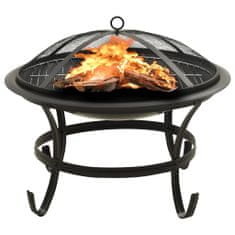 shumee Mísa na oheň a gril s pohrabáčem 56 x 56 x 49 cm ocel