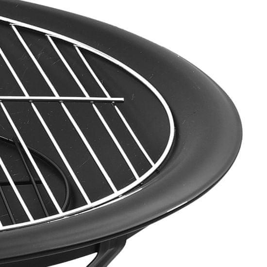 shumee 2 az 1-ben acél tűztál és grillező piszkavassal 56 x 56 x 49 cm