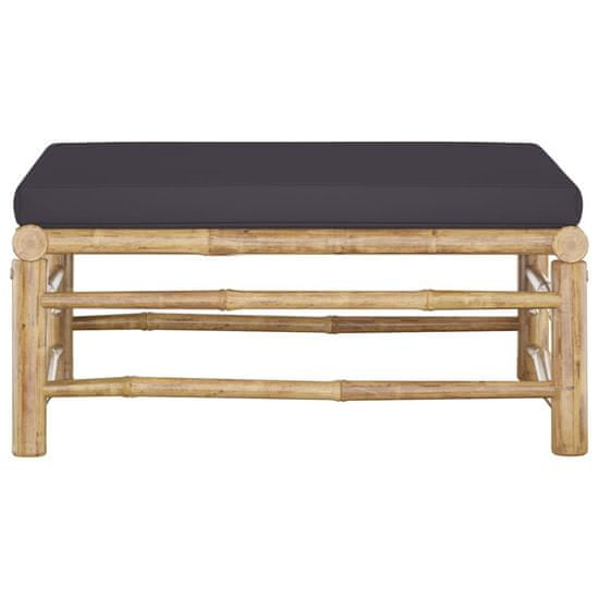 shumee Vrtni stolček za noge s temno sivo blazino bambus