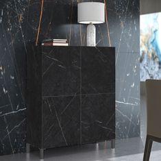 Komoda Meahel 2, črn marmor