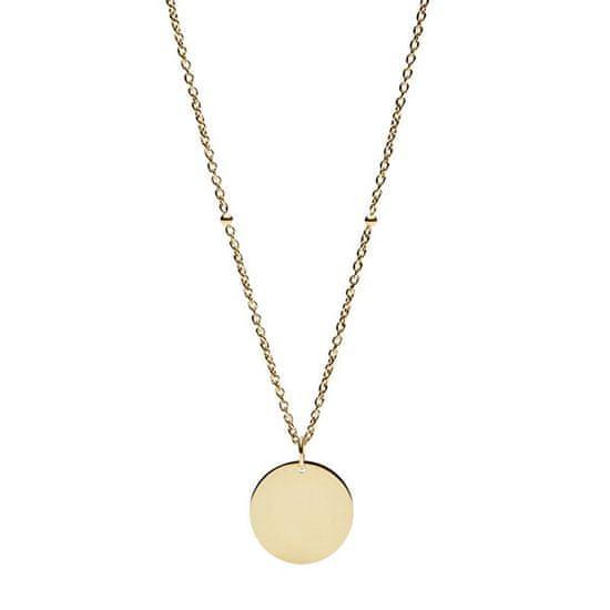 Fossil Pozlacený ocelový náhrdelník s přívěskem JF02968710
