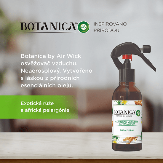 Air wick Botanica by Air Wick osvežilec zraka v spreju Karibski vetiver in sandalovina, 237 ml