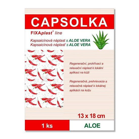 Fixaplast CAPSOLKA Kapsaicínová hrejivá náplasť ALOE 13 x 18 cm 1 ks