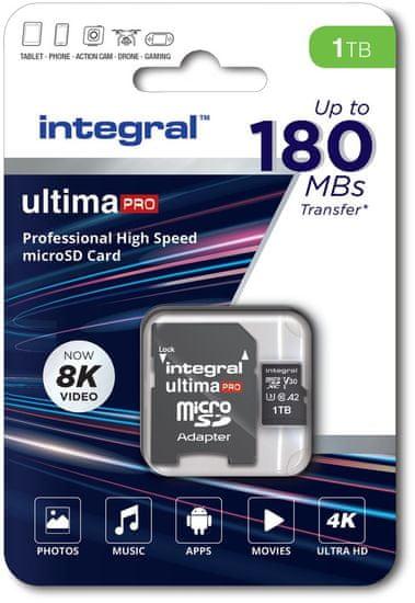 Integral Professional High Speed spominska kartica, 1 TB, 180 MB, V30, U3, UHS-I + SD adapter