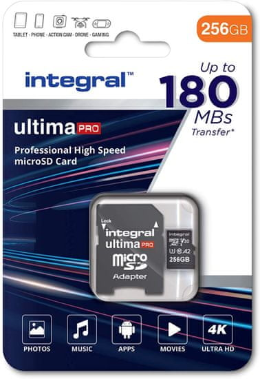 Integral Professional High Speed microSDXC spominska kartica, 256 GB, 180 MB/s, V30, UHS-I, U3 + SD adapter
