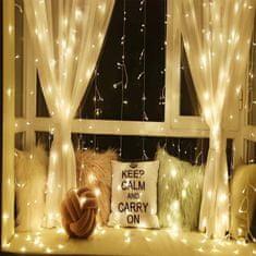shumee Vánoční světelný závěs - 3x3 m, 300 LED, teple bílý