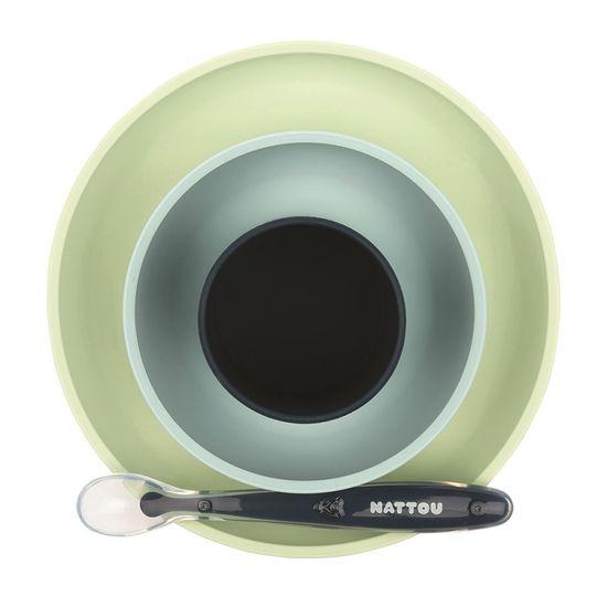 Nattou Set jídelní silikonový 4 ks bez BPA