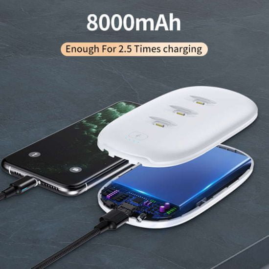 prenosna baterija 3v1, powerbank 8000 mAh in 3x 1500 mAh