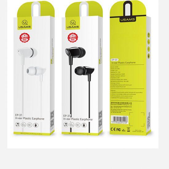 USAMS slušalice EP37, mikrofon, 3,5 priključak, crne