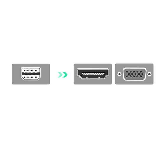Ugreen MD115 adapter HDMI - VGA - MiniDP Full HD, črna